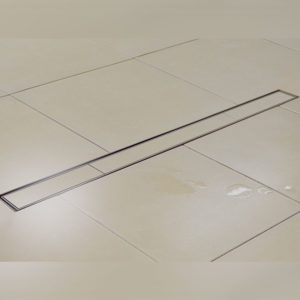 Kents perforated linear shower drain in use
